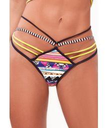 Multi straps colorful ethnic bikini bottom - BOTTOM X-FIT CROPPED TRIO