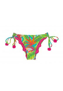 Cueca franzida tropical verde c/ pompons rosa - CALCINHA PARADISE GREEN OFF SHOULDER