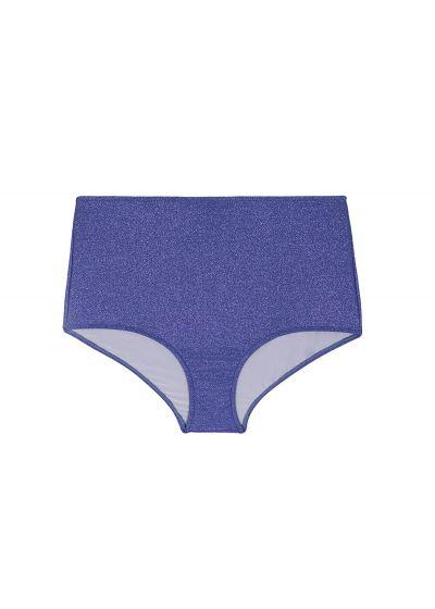 High-waisted bikini bottoms in shiny dark blue lurex - CALCINHA RADIANTE AZUL MARINHO HOT PANT
