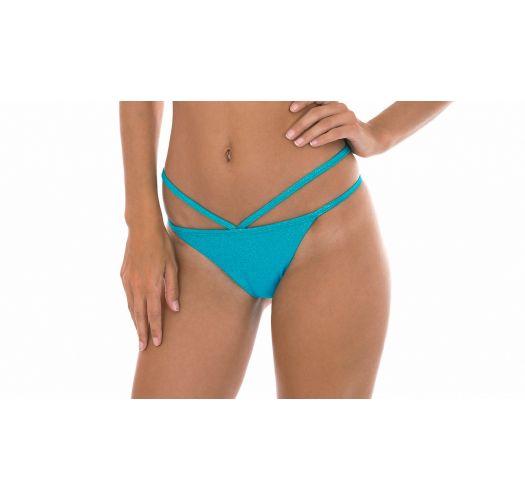 Blue lurex strappy Brazilian bikini bottoms - CALCINHA RADIANTE AZUL TOMARA QUE CAIA