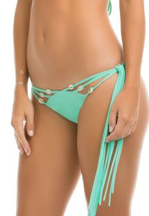 Bas de bikini bleu, franges et coquillages - CALCINHA SHELL STRAPPY MARINE