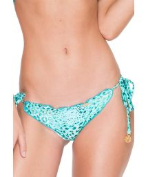 Turquoise leopard scrunch bikini bottom with ties - CALCINHA VIVA LEOPARD CRYSTALLIZED
