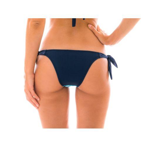 Blau/schwarze geschnürte Häkel-Bikinihose - BOTTOM DIONE AZUL