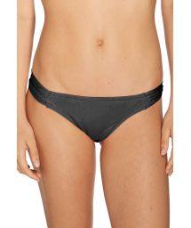 Black low rise bikini bottom with pleated sides - BOTTOM BIQUINI LISO PRETO
