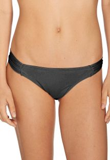 Black low rise bikini bottom with pleated sides - BOTTOM BIQUINI LISO PRETO