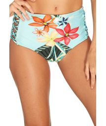 Blue floral high waisted bottoms with lattices - BOTTOM HAVANA CROPPED