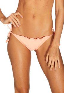 Light pink scrunch tanga bottoms with wavy edges - BOTTOM PASSAO ROSA