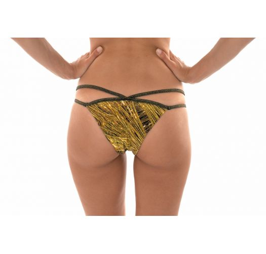 Gold printed thong bikini bottoms with double lurex straps - CALCINHA CROPPED STRAPPY RELUZENTE