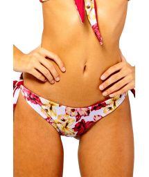 Tie-side bikini bottom with floral print - BOTTOM IRIS ORCHID