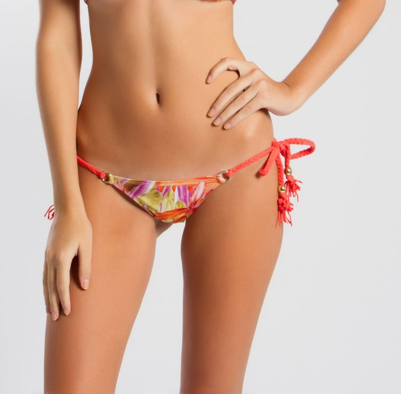 Colourful feather-printed Brazilian swimsuit bottom - CALCINHA CLARA COCAR