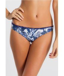 Blue swimsuit tanga with leaves and flowers pattern - CALCINHA GIU BIKINI