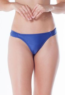 Blue Brazilian bikini bottom with pleated sides - BOTTOM BOLHA DRAPEADA FIO ARARA AZUL