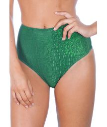 High-waisted crocodile print swimsuit bottom - CALCINHA CROCO VERDE