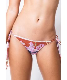 Side-tie Brazilian bikini bottom in stripes and flowers - BOTTOM CORTININHA BOUGAINVILLE LISTRA