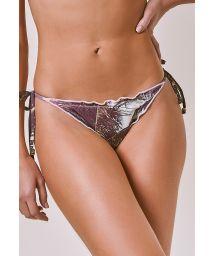 Nude scrunch bikini bottom in tropical print - BOTTOM BIQUINI RIPPLE NUDE SUNSET