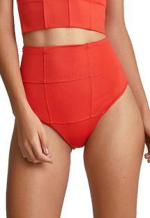 Textured high waisted bikini bottom in dark orange - BOTTOM ELLE CROPPED VERMELHO