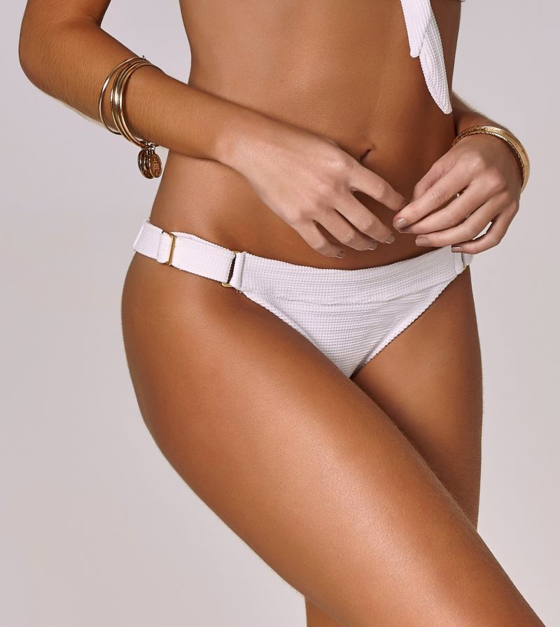 White textured bikini bottom with a belt-like effect - BOTTOM POSITANO BRANCO