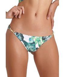 Bikini bottom with leaves print and golden decorative details - BOTTOM ZARA