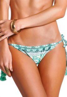 Green printed Brazilian scrunch bikini bottom with tassels - CALCINHA MAJORELLE VERDE