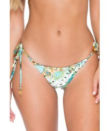 Printed Brazilian scrunch bottom with rhinestones - CALCINHA GUANTANAMERA CRYSTALLIZED