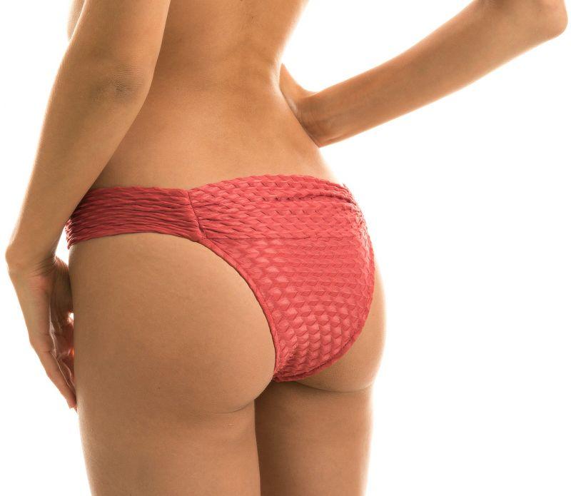 Teksturowane figi do bikini w kolorze ceglanym - BOTTOM KIWANDA MADRAS BAND COMFORT