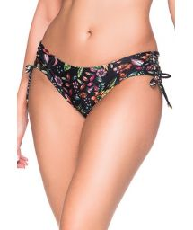 Black side-tie bikini bottom with flowers - BOTTOM ALÇA DREAM