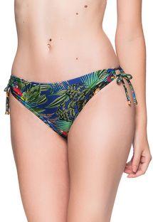 Bikinitrusser med farvestrålende tropisk print og dobbelt sidebinding - BOTTOM ALONGADO ARARA AZUL
