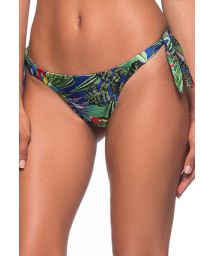 Colorful tropical Brazilian bikini bottom - BOTTOM BABADINHO ARARA AZUL