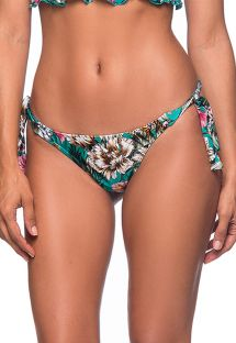 Green floral side-tie scrunch Brazilian bikini bottom - BOTTOM BABADINHO TROPICAL GARDEN