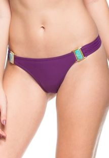 Plum Brazilian bikini bottom with green stones - BOTTOM BEIRA DO MAR