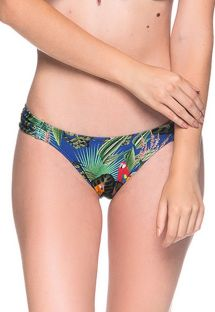 Colorful bikini bottom in tropical print - BOTTOM BOLHA ARARA AZUL
