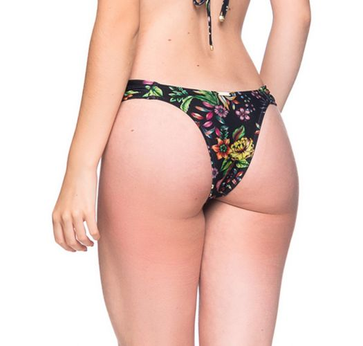 Schwarzgrundig geblümte Bikinihose - BOTTOM BOLHA DREAM