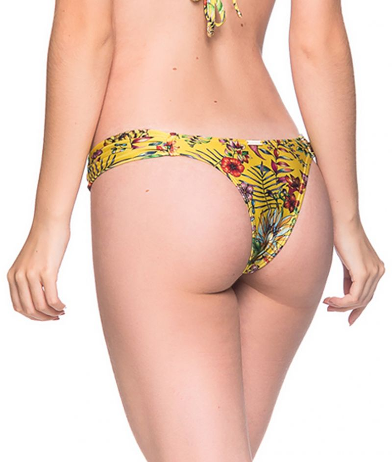 Geblümte ausgeschnittene Bikinihose - BOTTOM BOLHA DREAM AMARELA