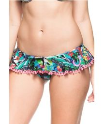 Skirty bikini bottom with Cuba print and pompons - BOTTOM CHA VERDE