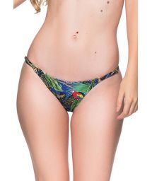 Tropical colorful slim sides adjustable bikini bottom - BOTTOM CORTINAO ARARA AZUL