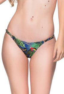 Justerbare bikinitrusser med tropisk farvestrålende print og tynde sidestykker - BOTTOM CORTINAO ARARA AZUL
