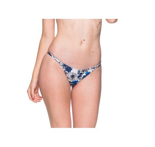 Blue and white floral bikini bottom adjustable side stripes - BOTTOM CORTINAO ATOBA