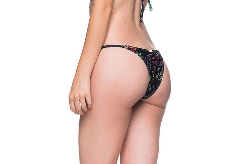 Black floral bikini bottom adjustable side stripes - BOTTOM CORTINAO DREAM