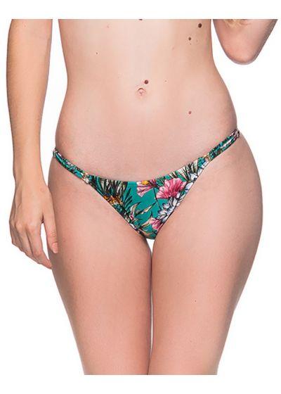 Green floral slim sides adjustable bikini bottom - BOTTOM CORTINAO TROPICAL GARDEN