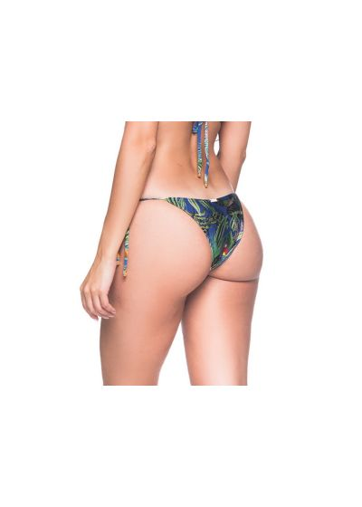 Multicolored tropical side-tie bikini bottom - BOTTOM CORTINIHA ARARA AZUL