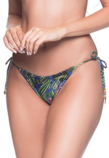 Multicolored tropical side-tie bikini bottom - BOTTOM CORTINIHA ARARA AZUL