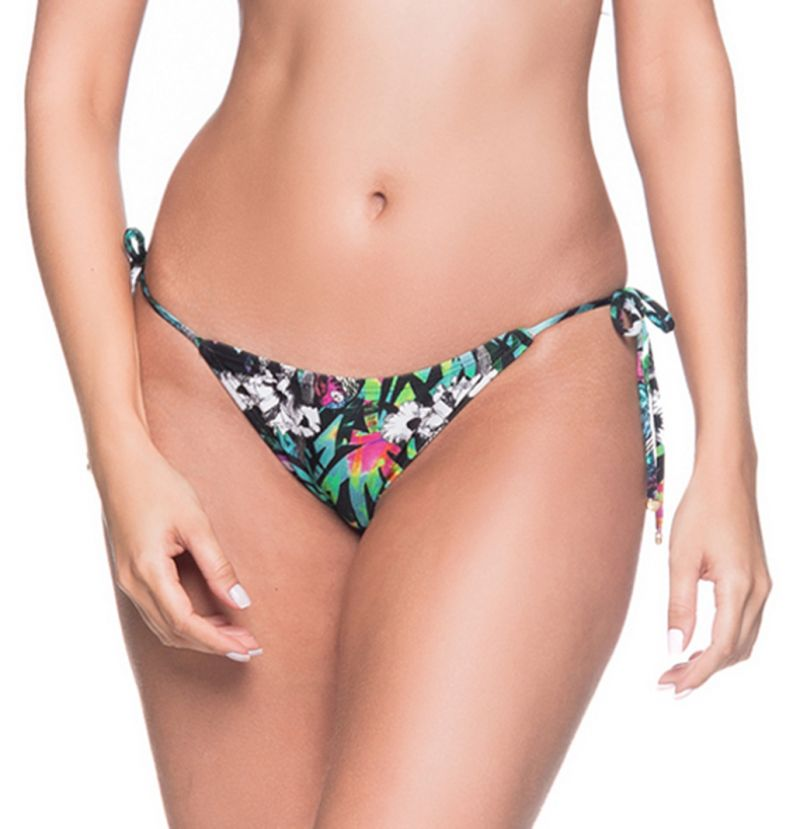 Multicolored floral side-tie bikini bottom - BOTTOM CORTININHA ATALAIA