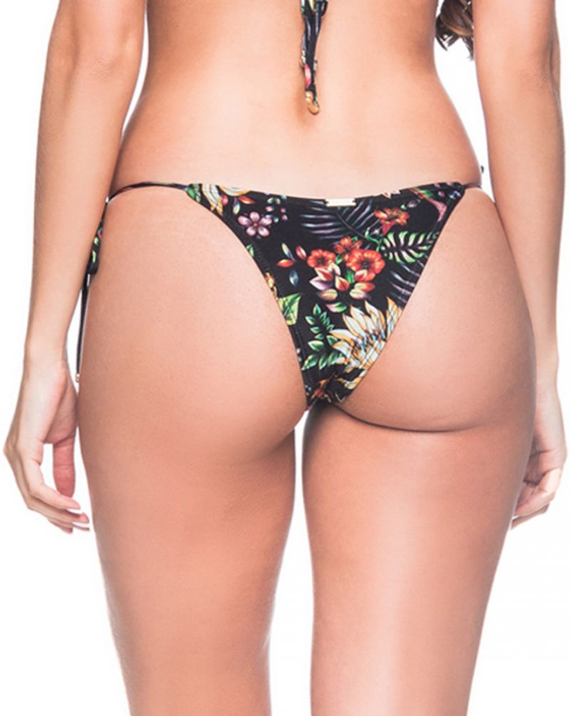 Black floral side-tie bikini bottom - BOTTOM CORTNINHA DREAM