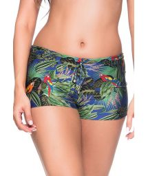 Colorful tropical shorty bikini bottom - BOTTOM CRUZADO ARARA AZUL