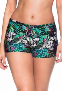 Colorful floral shorty bikini bottom - BOTTOM CRUZADO ATALAIA