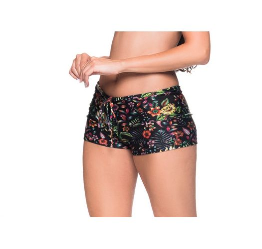Black floral shorty bikini bottom - BOTTOM CRUZADO DREAM