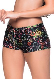 Black floral shorty bikini bottom - BOTTOM CRUZADO DREAM