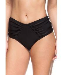 Black high-waisted pleated bikini bottom - BOTTOM DESERTO DO ATACAMA