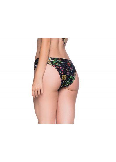 Floral black Brazilian bottom with pleated sides - BOTTOM DRAPE DREAM