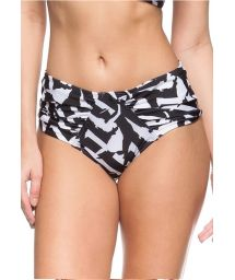 Black and white high-waisted pleated bikini bottom - BOTTOM DUNAS DO BRASIL